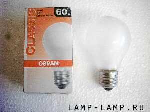 Osram 240v 60w Pearl GLS lamp with Edison Screw cap