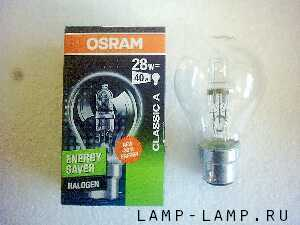 Osram 240v 28w Energy Saver Halogen Lamp with BC Cap