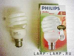 Philips 240v 20w (Tornado) Spiral Compact Fluorescent Lamp with BC Cap