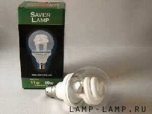 Saver Lamp 11w Compact Fluorescent Lamp with clear globe and BC cap